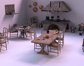 Medieval Kitchen Low Poly AR VR Asset Pack 3D model