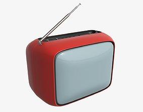 3D Red vintage TV