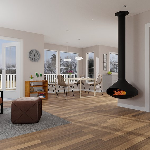Open livingroom with a hanging fireplace