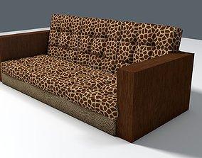 Giraffe and Leopard fur retro sofa 3D model chair
