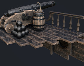 3D model Cannon For Ship