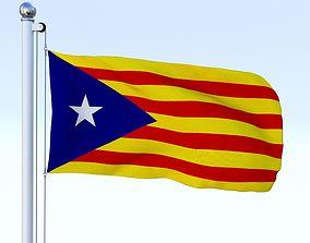 3D asset Animated Catalonia Flag