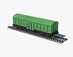 Box Car green 3D model game-ready