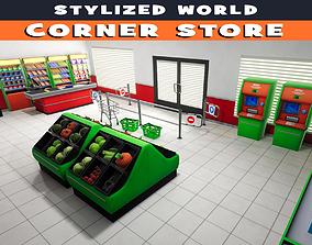 3D asset Stylized Corner Store