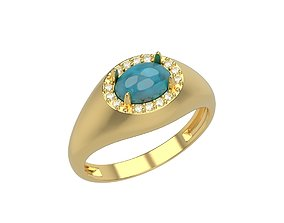 Women ring with cabochon and gems 3dm stl 1