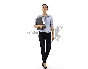 3D model Mei 001 Woman office clothes holding