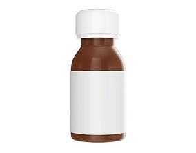 3D model Medicine small glass bottle with label mockup