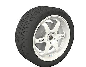 Wheel and Tyre Rays Top Secret TE37 Potenza 3D model