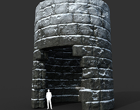 Low poly Snow Ruin Medieval Construction 14 3D asset