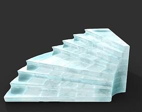 3D asset Low poly Ancient Roman Ruin Construction R5 - Ice