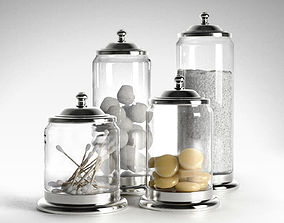 Apothecary Pewter and Glass Bath Jars 3D model