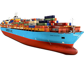 Maersk container ship 300m 3D asset VR / AR ready