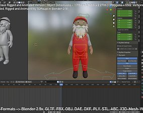 3D model animated Rigged Santa Claus