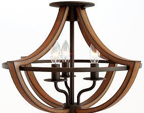 3D model Montana Rustic Semi Flush Ceiling Light