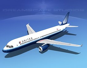 3D asset Airbus A320 LP United Airlines 2