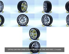 3D model ORTAS CAR RIM 5 AND 6 GAME READY RIM TIRE AND