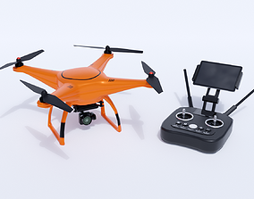 Drone with remote control 3D asset