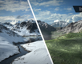 Mountain Lake Summer and Winter Textures 3D asset