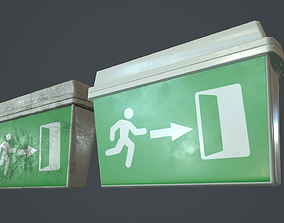 3D model Plastic Exit Sign PBR Game Ready