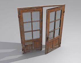 Door 3 Double French Wood 3D asset
