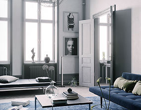 Blue Scandinavian Interior scene 3D