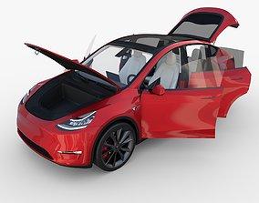 Tesla Model Y Red with interior 3D