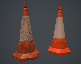 Road Sand Filled Cone PBR Game Ready 3D model
