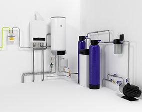 3D model Boiler Buderus U0072-35 with OKC160