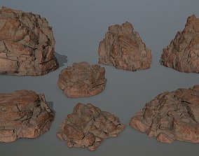 desert rocks 3D model game-ready dune