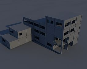 3D model Ruined Industrial building in parts