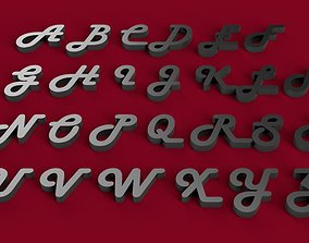 HARLOW font uppercase and lowercase 3D letters STL file