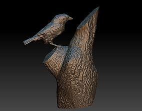 Sparrow on a tree 3D printable model