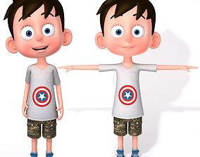 son rigged 3D Cartoon Boy Rigged