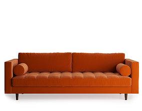 Scott 3 Seater Sofa Cotton Velvet 3D