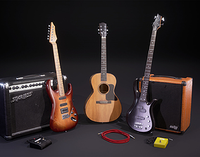 Low poly guitar collection 3D
