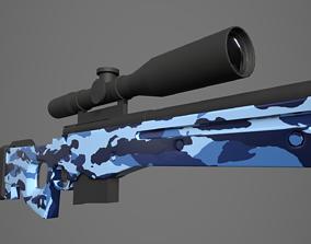 3D model Arctic Warfare Magnum Blue Camo Sniper