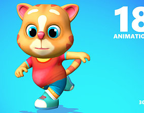 Cat Low poly Animated Rigged 3D model