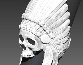 Detailed Indian Skull Chief Ring community 3D print model