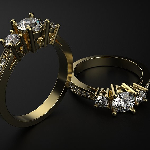 Engagement diamond ring 3 stones. Ready for print. . .