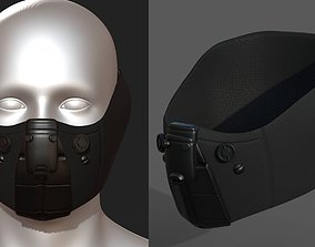Gas mask respirator scifi low-poly 1