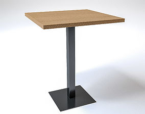 3D Square wooden table with metal centered leg