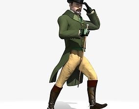 3D Regency Man 1811-1820 - Low poly - rigged - animated