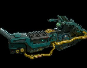 Low poly hover bike sci fi vehicle 3D asset
