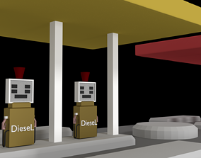 car 3D model Petrol Station