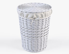 3D model Wicker Laundry Basket 03 White Color