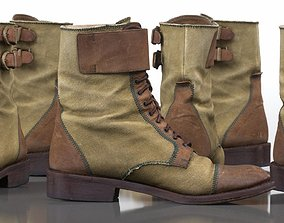 Green and Brown Leather Boots Walking Hiking 3D asset