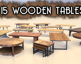 Low-Poly Wooden Table Pack 3D model