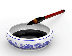 Chinese Calligraphy Brush Ceramic Ink Dish with 3D model 2