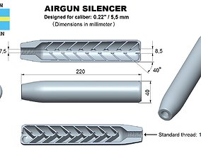 3D print model Airgun silencer superior caliber