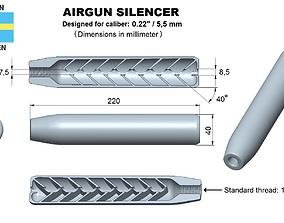 3D print model Airgun silencer superior caliber 22
